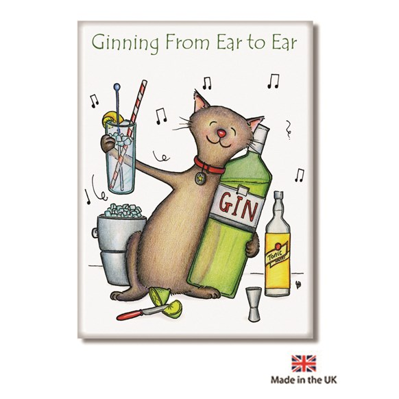 Ginning Ear to Ear Fridge Magnet