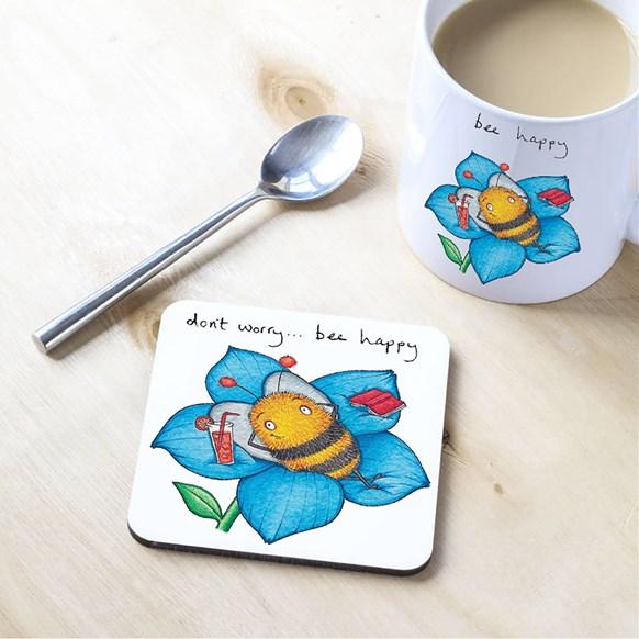 Bee Happy Mug and Coaster