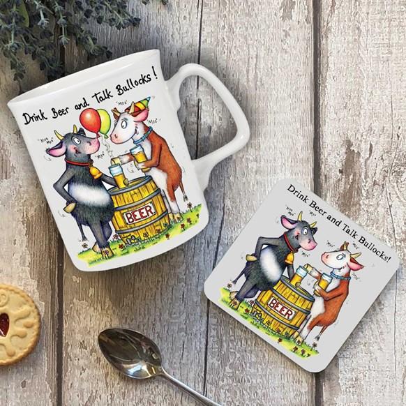Talk Bullocks Mug and Coaster