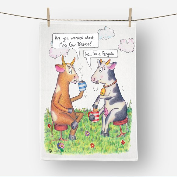 Mad Cow Tea Towel