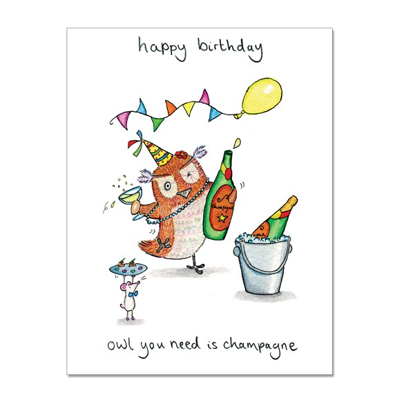 Owl Champagne Greeting Card