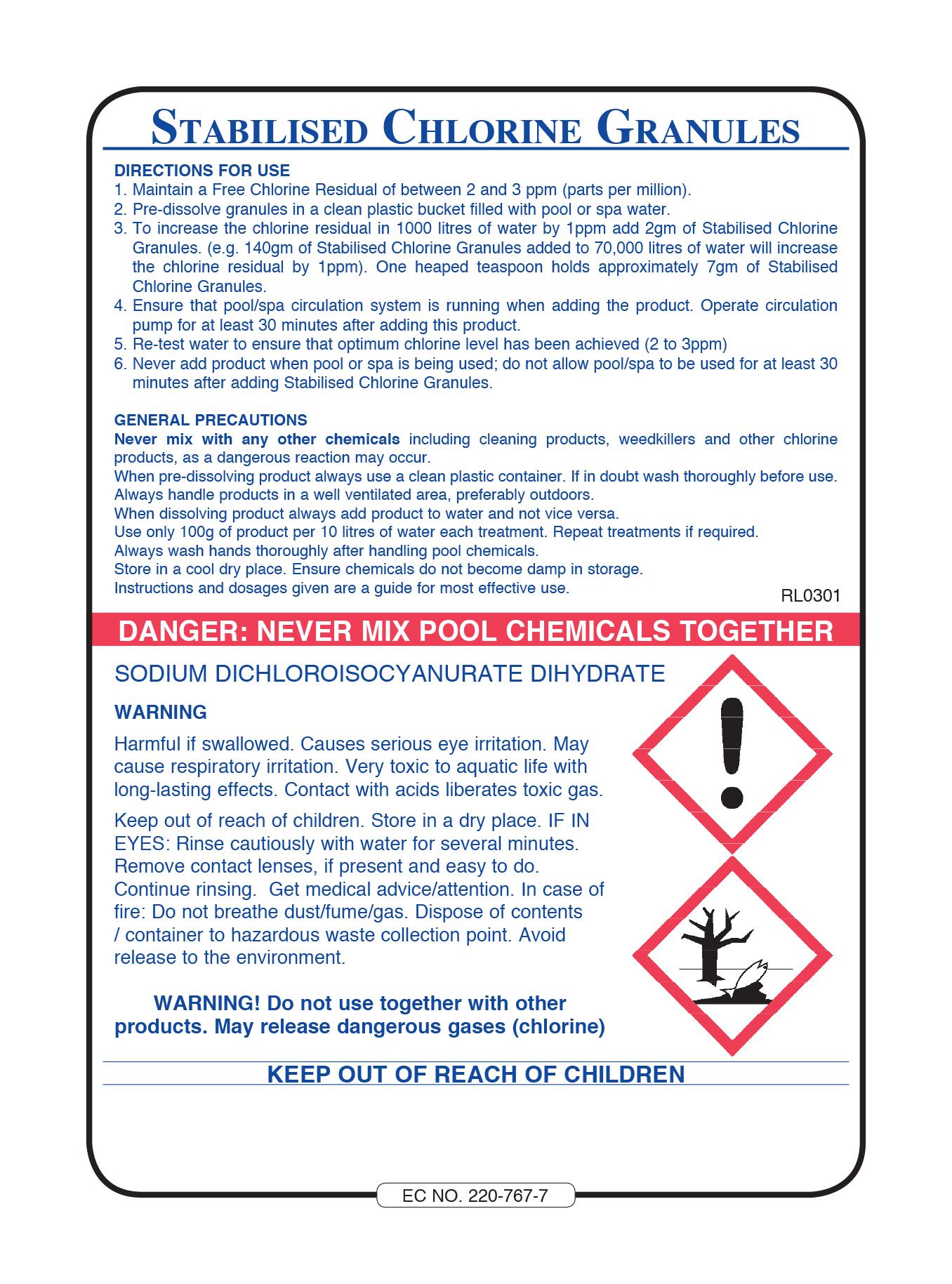 Spa Stabilised Chlorine Granules - 5kg