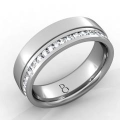 Platinum 950 Mens Diamond Set Wedding Band 0.45ct image 1