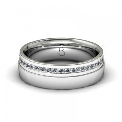Platinum 950 Mens Diamond Set Wedding Band 0.45ct image 0