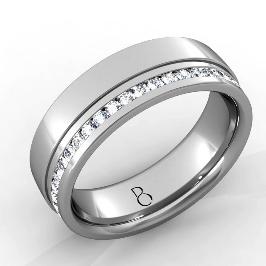 Platinum Mens Wedding Bands: Platinum 950 Mens Diamond Set Wedding Band 0.45ct