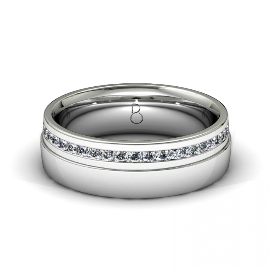Platinum 950 Mens Diamond Set Wedding Band 0.45ct