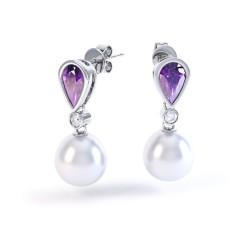 Diamond, Pearl & Amethyst Earrings  image 0