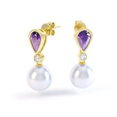 Amethyst, Diamond & Pearl Earrings  image 0