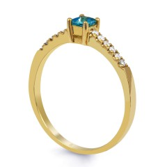 Lily 9ct Yellow Gold Blue Topaz and Diamond Gemstone Ring image 1