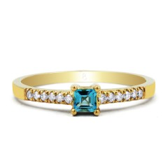 Lily 9ct Yellow Gold Blue Topaz and Diamond Gemstone Ring image 0