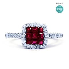 Mai 18ct White Gold Ruby and Diamond Halo Cluster Ring image 0
