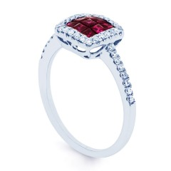 Mai 18ct White Gold Ruby and Diamond Halo Cluster Ring image 1