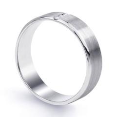 Trinity 9ct White Gold 3 Stone Men's Diamond Wedding Band image 1