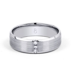 Trinity 9ct White Gold 3 Stone Men's Diamond Wedding Band image 0