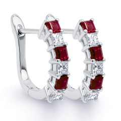 Diva 9ct White Gold Multi Stone Ruby and Diamond Earrings image 0
