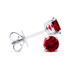 Classic 9ct White Gold Natural Solitaire Ruby Earrings image 1