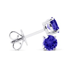 Classic 9ct White Gold Natural Solitaire Tanzanite Earrings image 1