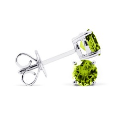 Classic 9ct White Gold Natural Solitaire Peridot Earrings image 1