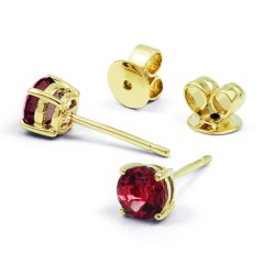 Classic 9ct Yellow Gold Natural Solitaire Ruby Earrings image 0