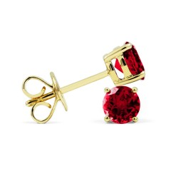 Classic 9ct Yellow Gold Natural Solitaire Ruby Earrings image 1