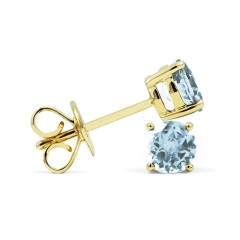 Classic 9ct Yellow Gold Natural Solitaire Aquamarine Earrings image 1