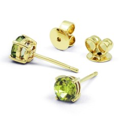 Classic 9ct Yellow Gold Natural Solitaire Peridot Earrings image 0