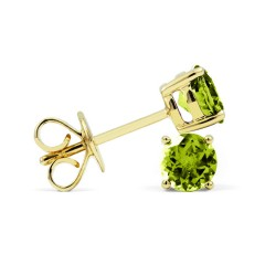 Classic 9ct Yellow Gold Natural Solitaire Peridot Earrings image 1
