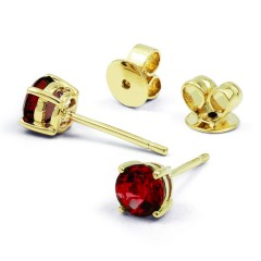 Classic 9ct Yellow Gold Natural Solitaire Garnet Earrings image 0