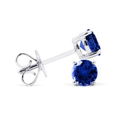 Classic 18ct White Gold Natural Solitaire Blue Sapphire Earrings image 1
