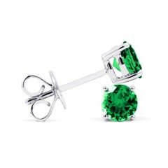 Classic 18ct White Gold Natural Solitaire Emerald Earrings image 1
