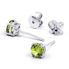 Classic 18ct White Gold Natural Solitaire Peridot Earrings image 0