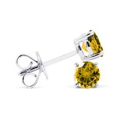 Classic 18ct White Gold Natural Solitaire Citrine Earrings image 1