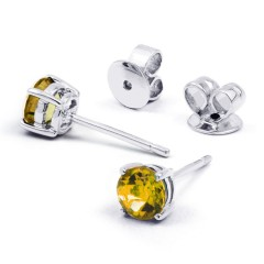 Classic 18ct White Gold Natural Solitaire Citrine Earrings image 0
