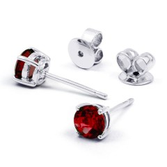 Classic 18ct White Gold Natural Solitaire Garnet Earrings image 0