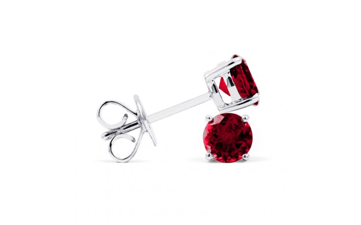 Classic 18ct White Gold Natural Solitaire Garnet Earrings product image 2