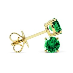 Classic 18ct Yellow Gold Natural Solitaire Emerald Earrings image 1
