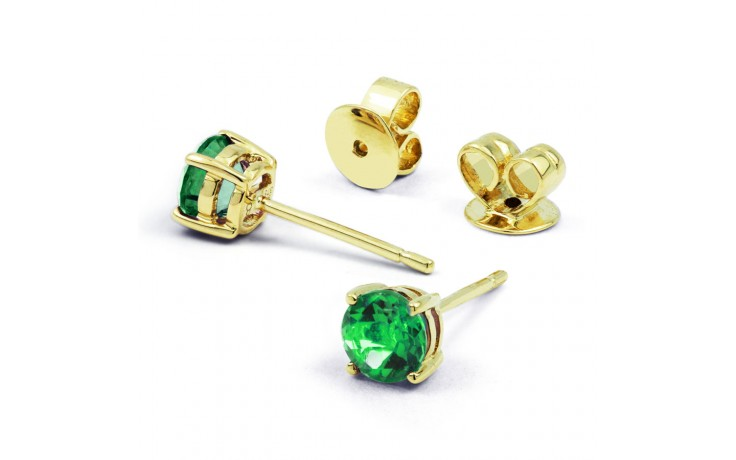 Classic 18ct Yellow Gold Natural Solitaire Emerald Earrings product image 1