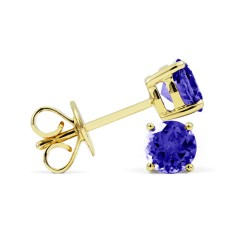 Classic 18ct Yellow Gold Natural Solitaire Tanzanite Earrings image 1