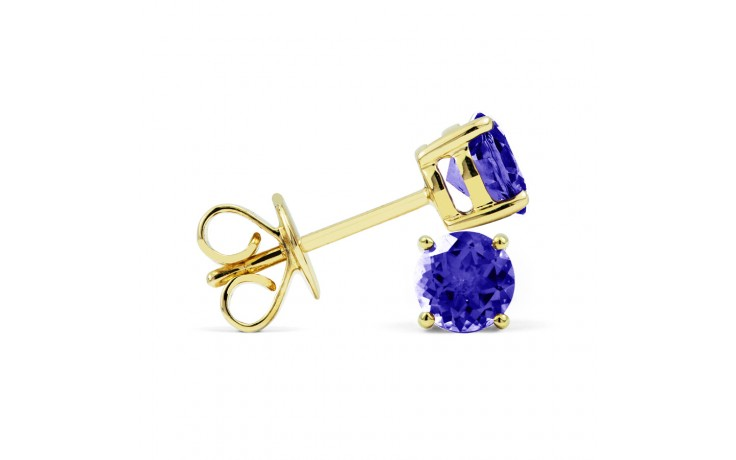 Classic 18ct Yellow Gold Natural Solitaire Tanzanite Earrings product image 2