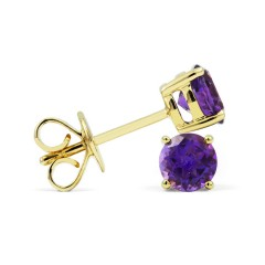 Classic 18ct Yellow Gold Natural Solitaire Amethyst Earrings image 1