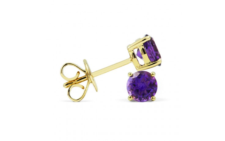 Classic 18ct Yellow Gold Natural Solitaire Amethyst Earrings product image 2