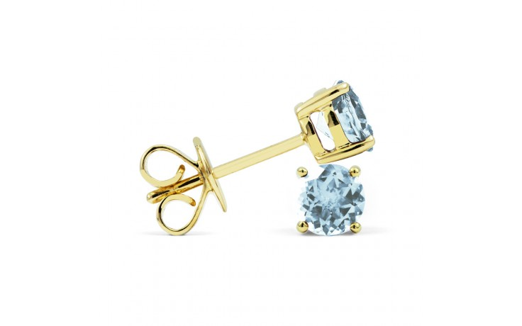 Classic 18ct Yellow Gold Natural Solitaire Aquamarine Earrings product image 2