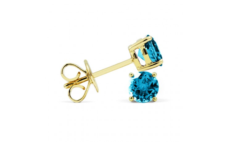 Classic 18ct Yellow Gold Natural Solitaire Blue Topaz Earrings product image 2