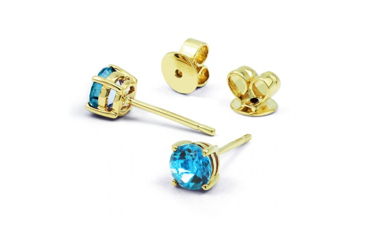 Classic 18ct Yellow Gold Natural Solitaire Blue Topaz Earrings product image 1