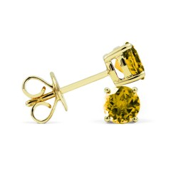 Classic 18ct Yellow Gold Natural Solitaire Citrine Earrings image 1