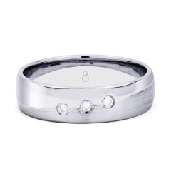 5.5mm Men's 3 Stone Band 18ct White Gold Court 0.06ct image 0