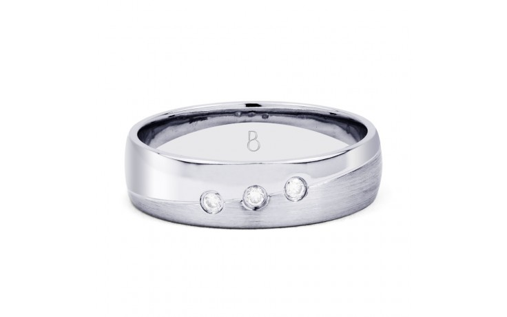 5.5mm Men's 3 Stone Band 18ct White Gold Court 0.06ct product image 1