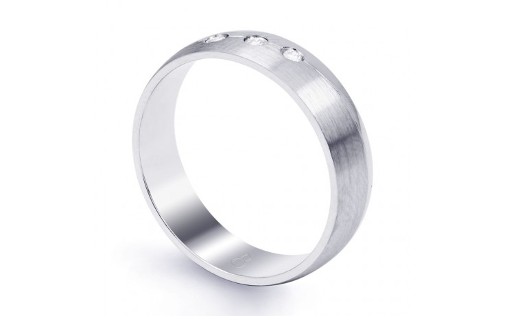 5.5mm Men's 3 Stone Band 18ct White Gold Court 0.06ct product image 2