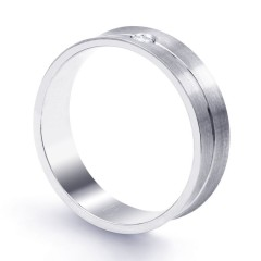6mm Men's Wedding Band 18ct White Gold Concave 0.05ct image 1
