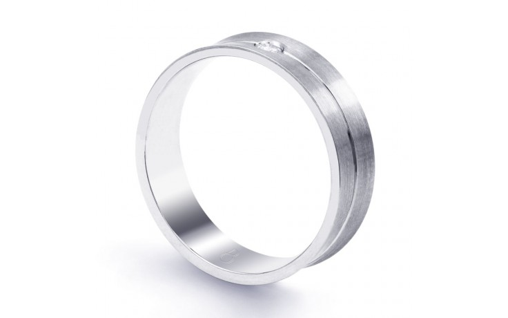 6mm Men's Wedding Band 18ct White Gold Concave 0.05ct product image 2